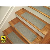 Essential Vinyl Stair Treads - NFSI Certified High Traction Surface (Slip Resistant), Peel and Stick - An alternative to carpet stair treads - Many color options! (13, Blue Gray (403))
