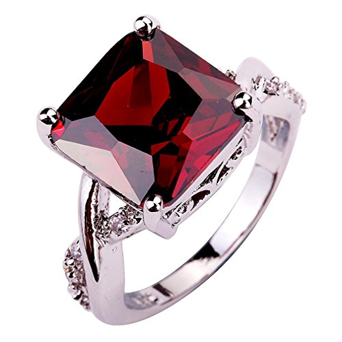 YAZILIND Valentine's Day Jewelry CZ Ring Stone Wedding Bridal Jewelry for Women Gift Size 9