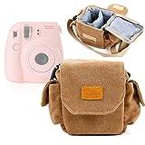 Etui avec bandoulière pour Fujifilm Instax Mini 8, 25, 50S, 7S et 90 appareil photo instantané - style vintage couleur beige/sable adaptée - DURAGADGET