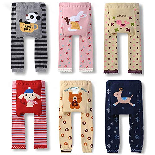 Looching 6 Pack Baby Toddler Girls Cotton Cable Knit Footless Tights Legging Stocking Pants Pantyhose S(12-24 Months)