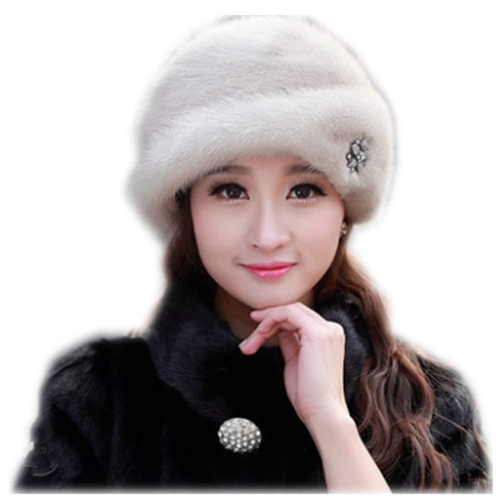MH Bailment Women Winter Berets Real Whole Leather Mink Cap Korean Ceremony hat (S(53-55cm), Beige)