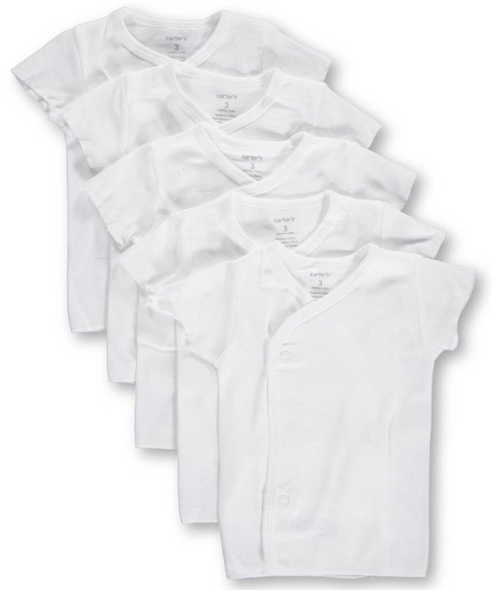 Carters Unisex Baby 5-Pack Side-Snap T-Shirts - White, Newborn by Carter's