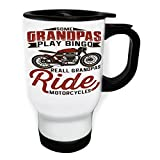 Some Grandpas Play Bingo Motorcycle White Thermo Travel Mug 14oz v815tw