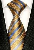 LORENZO CANA - Luxury Italian 100% Silk Tie Jacquard Woven Gold Blue - 84365