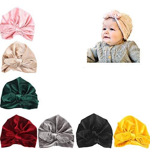 (Udobuy7 Pcs Headband Updated Version Baby Hat- Newborn Baby Girl Soft Cute Turban Knot Rabbit Hospital Hat)