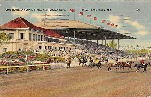 Club House and Grand Stand, Miami Jockey Club Hialeah, Florida, FL, USA Old Vintage Horse Racing Postcard Post Card