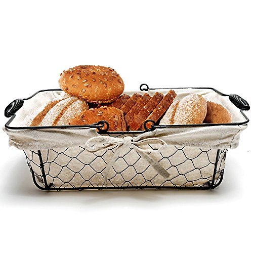 Mkono Vintage Bread Basket Black Wire Food Serving Basket with Removable Liner for Picnic Coffee Kitchen