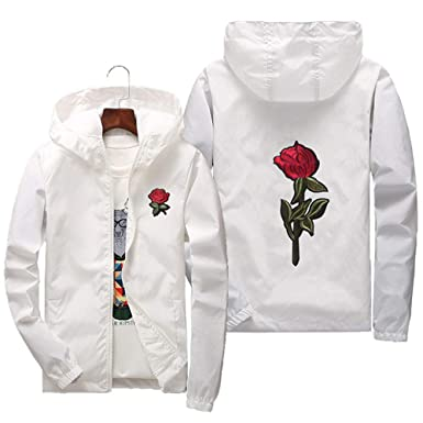 f78b99908a Rose Floral Jacket Windbreaker for Men Zip-up Hooded Waterproof Windproof  College Jackets (White