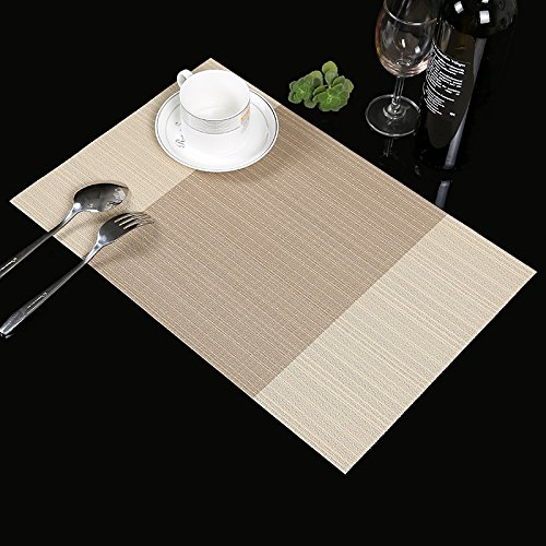 Place mats,Famibay Heat Insulation PVC Placemats Stain-resistant Crossweave Woven Table Mats for Kitchen Set of 4 (4, Vertical Striped Beige)