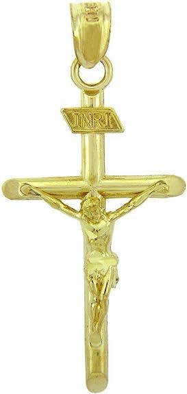 14k Solid Gold Cross Pendant Religious Pendant Necklace Charm