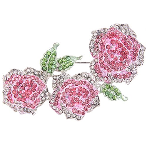 - EVER FAITH Women's Austrian Crystal Enamel Romantic Blooming Rose Flower Leaf Brooch Pink Silver-Tone