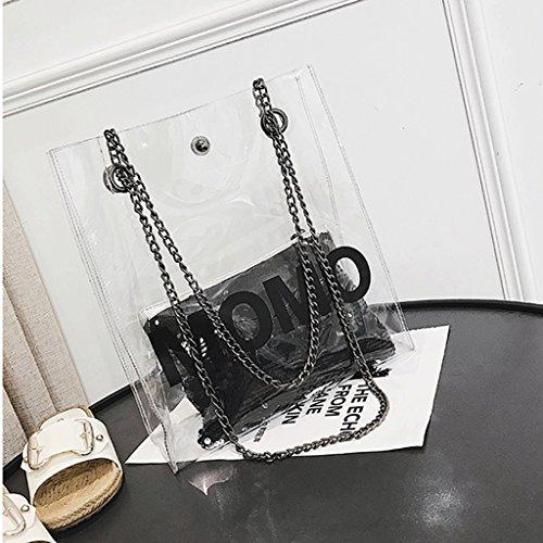 San Spalla Negro Hombro Estate Nuevo Borsa St Messaggero Transparente Bolso colore Blu Nuova Gran Nero De Donna Dgf Trasparente color Azul Verano Mujer Great Mensajero Della qBCwEHOw
