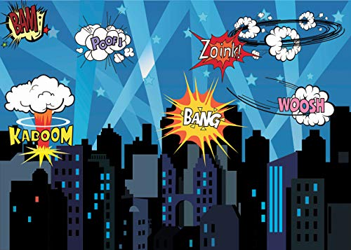 (LYWYGG 7x5FT Spiderman Party Supplies Birthday Boy Photography Backdrop Colorful Cartoon Background City Buildings Backdrop for Birthday Party Newborn Baby Shower)
