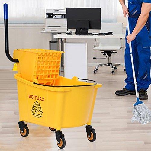 Elegant Compact Design 31 Quart Side Press Wringer Mop Bucket Perfect for House, Office or Hotel