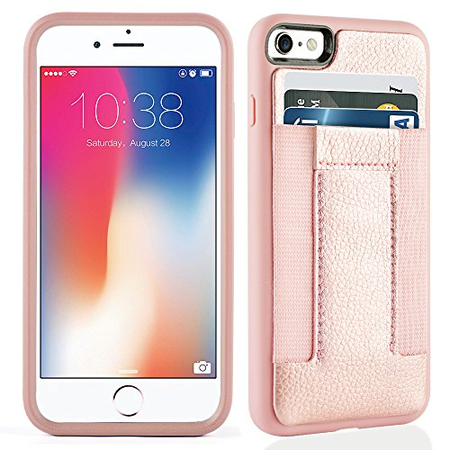 iPhone 6s Case, iPhone 6 Case,iPhone 6 /6s Wallet Case with Credit Card Slots& ID Card-Durable slim Shockproof Cover for iPhone 6/6s-Rosegold Ribbon Cell Phone Case