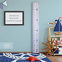 Back40Life Wooden Kids Growth Chart Ruler for Boys and Girls (Benchmark) (Weathered White)