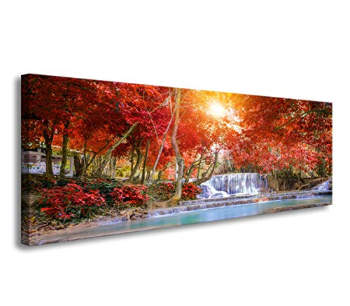 (Bedroom Wall Decor Waterfall Canvas Prints Red Tree Pictures for Living Room Wall Decor Modern Large Wall Art Sunshine Photo Prints Artwork for Walls Autumn Bedroom Decor Framed Wall Art 16x48inch)