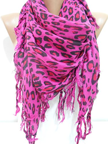 Leopard Scarf Shawl Mothers Day Gifts Cowl Scarf Animal Print Fringe Scarf