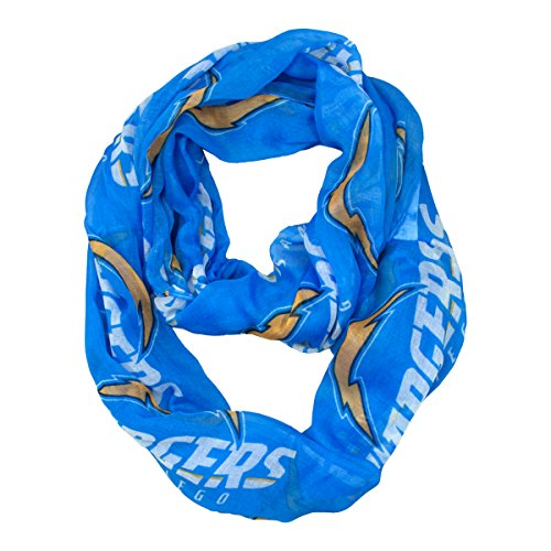 NFL San Diego Chargers Sheer Infinity Scarf, One Size, Blue