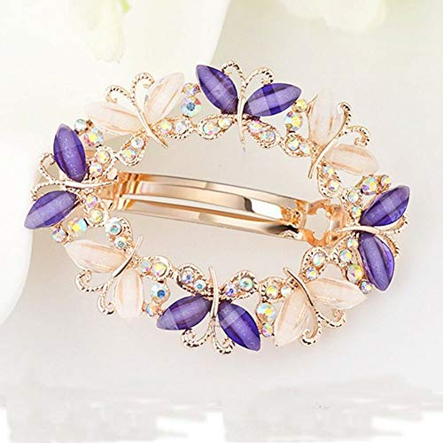 Women Crystal Rhinestone Flower Barrette Hair Clip Clamp Hairpin Barrette Lot (Color - #3 Purple)