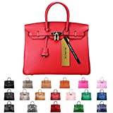 SanMario Designer Handbag Top Handle Padlock Women's Leather Bag with Golden Hardware Red 35cm/14''