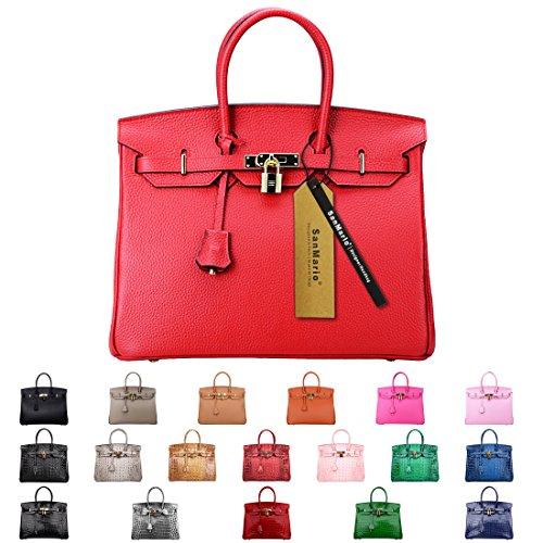 SanMario Designer Handbag Top Handle Padlock Women's Leather Bag with Golden Hardware Red 35cm/14'' by SanMario