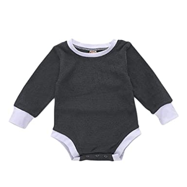 ba3bd8a208fb Amazon.com  Infant Baby Solid Color Romper Toddler Boys Girls Plain Long  Sleeves Onesies Bodysuits Outfits  Clothing