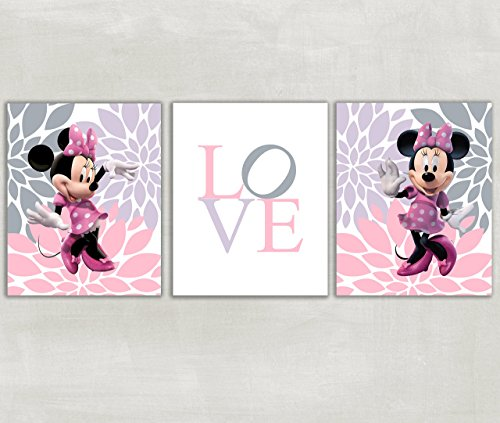 Print Mum (Girls Room Nursery Minnie Mouse Love Wall Art Set of 3 Prints Lavender, Soft Gray and Pink-Flowers Dahlias Mums ((Unframed)))