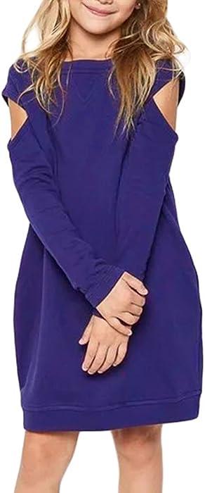 74a1848350136 Amazon.com: SEBOWEL Girl Blue Cold Shoulder O-Neck Long Sleeve ...