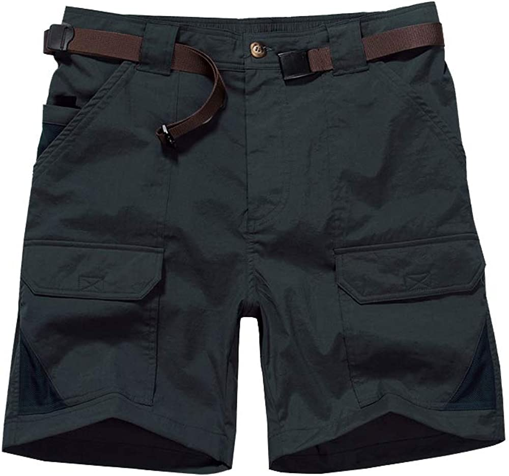 Men's Outdoor Casual Expandable Waist Lightweight Water Resistant Quick Dry Cargo Fishing Hiking Shorts
