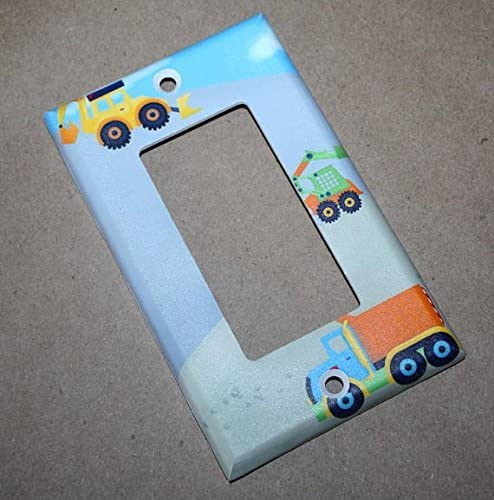 Single Outlet Construction Truck Boys Nursery Bedroom Light Switch Cover LS0067