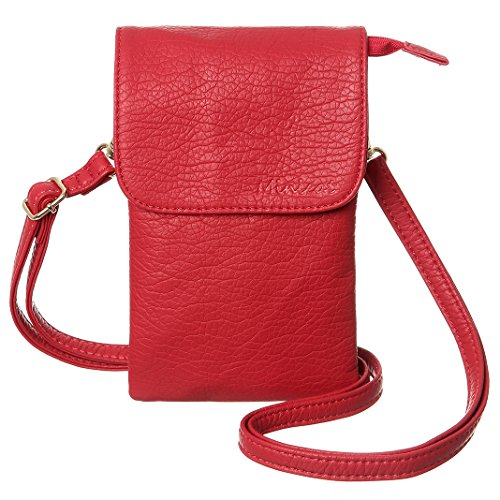 MINICAT Snythethic Leather Small Crossbody Bag Cell Phone Purse Wallet For Women(Red) by MINICAT