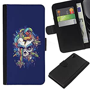 iBinBang / Flip Funda de Cuero Case Cover - Cráneo púrpura de la serpiente del arco iris Colores - Sony Xperia Z2 D6502