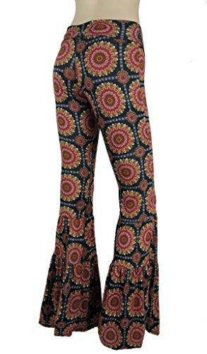 Sugar Rock Women Paisley Palazzo Pants Fold-Over Waist Wide Leg & Laundry Washing Bag