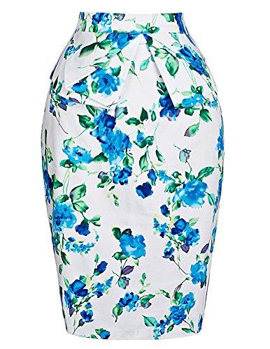 Graduation Dresses Midi Skirt for High School (M) Floral Blue