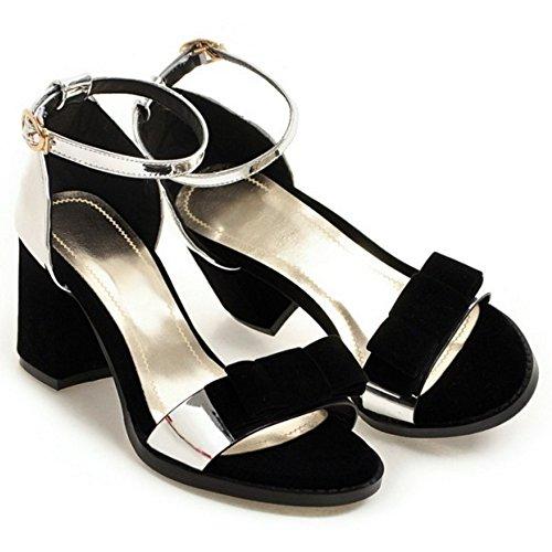 Heel Women Silver TAOFFEN Block Sandals EqBggawxX