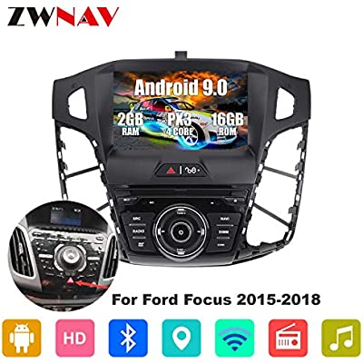 ZWNAV inch Andriod 9 0 Double Din Car Stereo Sat Nav Bluetooth GPS Navigation For Ford Focus 2015-2018 Steering Wheel Control Headunit Wifi USB Carplay Mirror Link  2G RAM 16G ROM