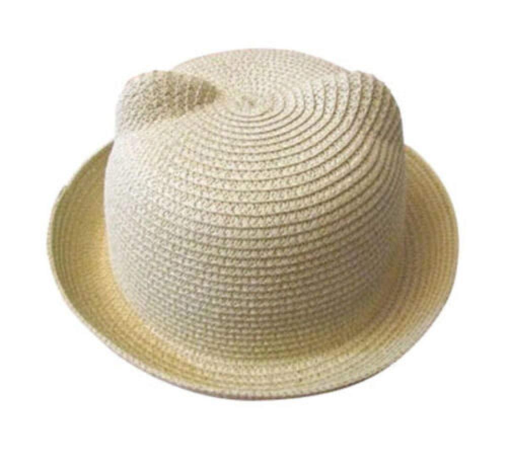 New Women Girls Kid Straw Hat Cat Ears Bowler Derby Hats Cloche Cap Beach Sunhat