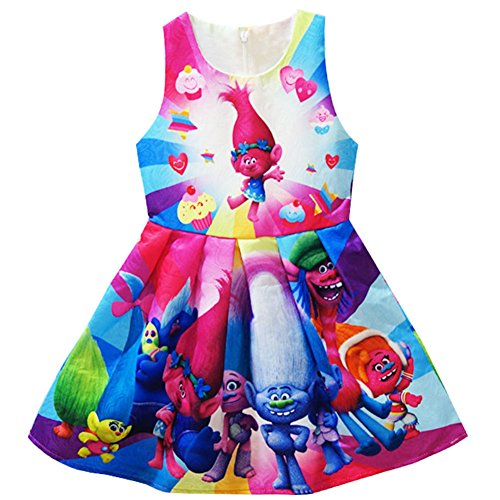 KIDHF Trolls Little Girl Princess Cartoon Party Princess Dress (Color,140/6-7Y)]()