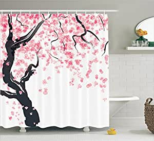 House Decor Shower Curtain Set by Ambesonne, Japanese Cherry Tree Blossom in Watercolor Painting Effect Oriental Stylized Art Deco, Bathroom Accessories, 84 Inches Extralong, Black Pink
