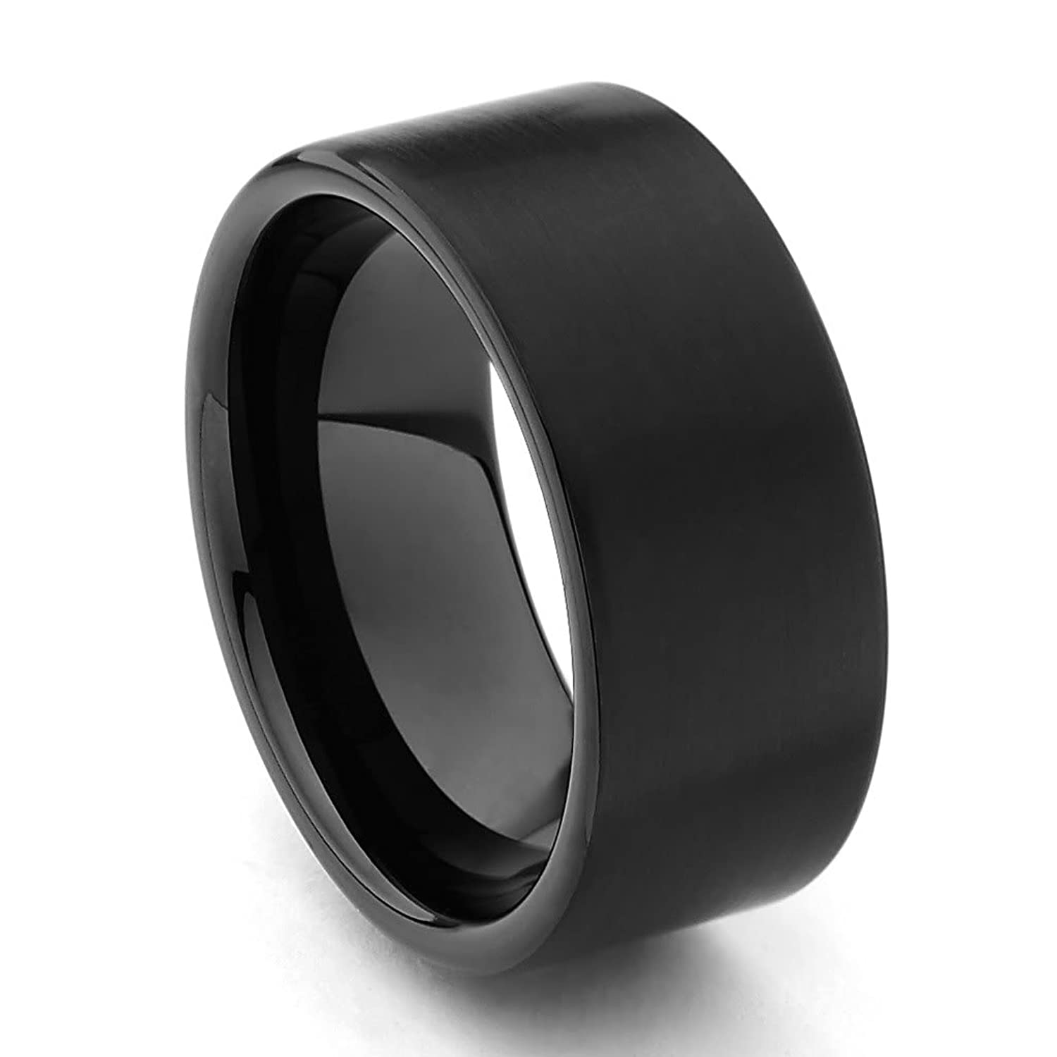 Matte Black Mens Wedding Bands