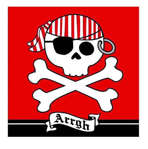 16-Count Paper Lunch Napkins, Pirate Parrty Arrgh