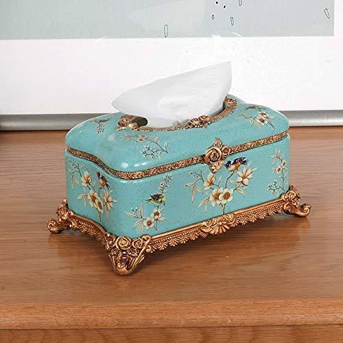 ティッシュボックスホルダーKleenex Napkin Case ヨーロッパの古典的な創造的なティッシュボックスの装飾リビングルームの引き出しの紙箱の装飾装飾(色:黄色) ティッシュディスペンサー収納オーガナイザースタンドティッシュカバー (色 : 青)  青 B07RWBGGDS