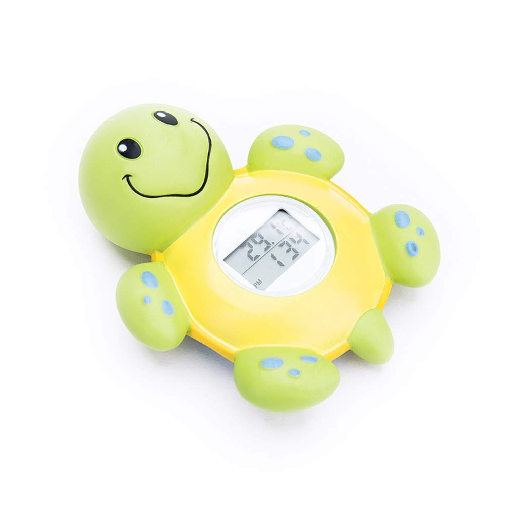 Baby Bath Thermometer Toy,Fast and Accurate Water Readings with LED Warning Alarm Ensures Your Childs Safety Green+Yellow Cute Floating Bathtub Toy Makes Perfect Bathtime Fun for Infants