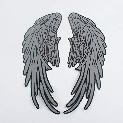 Iron Angel (Angel Wings Reflective Embroidered Iron/Sew On 1 Pair Large Patch (14 inch x 5.5 inch))