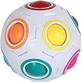 Crounuas Bola de quebra-cabeça de arco-íris, cubo esférico, quebra-cabeça 3D, brinquedo para alívio de estresse, bola sensori