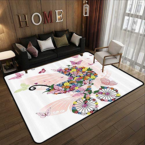 Contemporary Indoor Area Rugs,Butterflies Decoration Collection,Stroller of Flowers and Butterflies Carriage Cart Celebration Birth Happiness Image,Pi 71