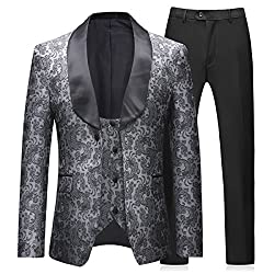 Boyland Mens 3 Pieces Tuxedos Vintage Groomsmen Wedding Suit Complete Outfits(Jackets+Vest+Trousers) Prom Formal Tuxedo Suit