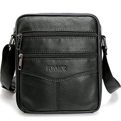 Fonmor Men Vintage Cowhide Leather Shoulder Messenger Bag Crossbody Small (Small Satchel Shoulder Bag)