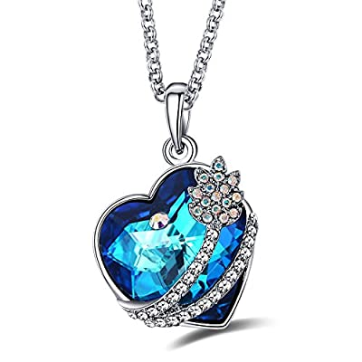 """Caperci Valentines Day Gifts for Her Swarovski Elements Crystal Heart Pendant Necklace with """"I Love You To The Moon and Back"""""""